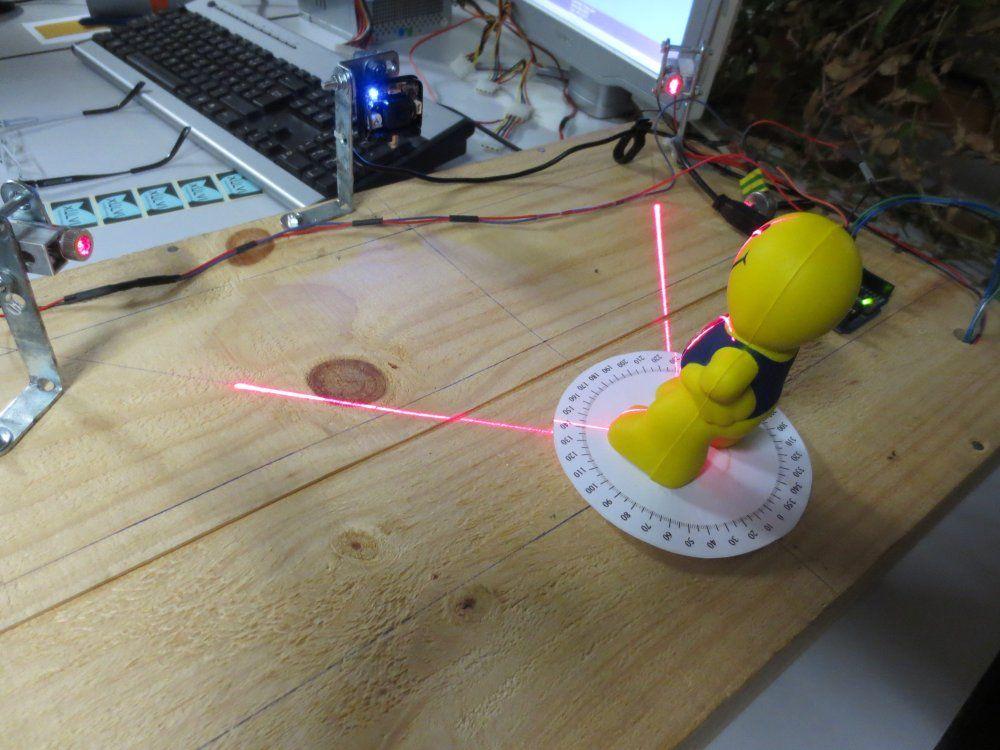 Ici, les deux lasers sont allumés en même temps, mais lors de la captation des images, ils le sont successivement. De même, il y a une boite qui recouvre le dispositif pour que seul le faisceau du laser soit visible.